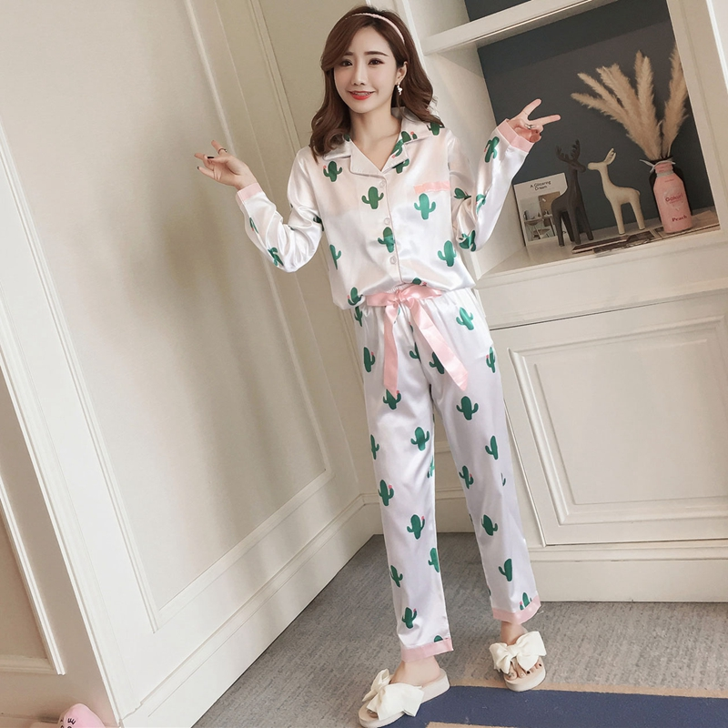 Girl Friend Gifts Silk Pajama Sets For Women 2019 Autumn Long Sleeve Comfortable Homewear Pyjama Female Loungewear Home Clothing