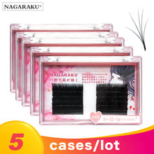 Nagaraku 5 casos/lote fácil fã russo volume cílios fãs automático cílios individuais cílios extensão 1s florescendo falso vison cílios