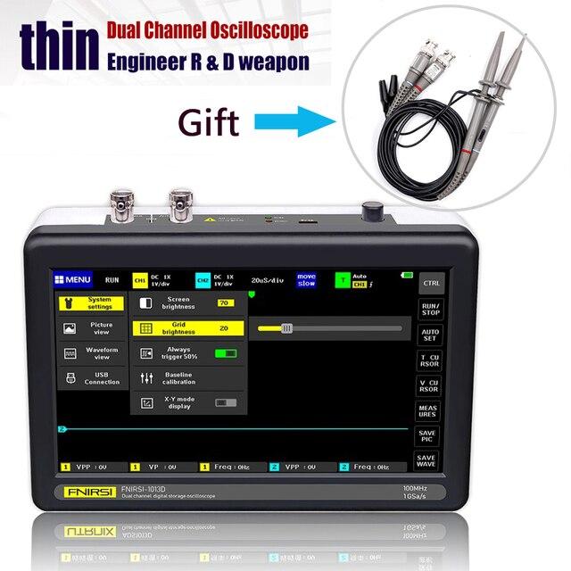 ADS1013D 오실로스코프 2 채널 100MHz 대역 폭 1GSa/s 샘플링 속도 오실로스코프, 7 인치 컬러 TFT LCD 터치 스크린