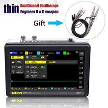 Osciloscópio da taxa de amostragem 1gsa/s dos canais 100mhz da largura da faixa de ads1013d 2 com 7 Polegada tela de toque de tft lcd da cor