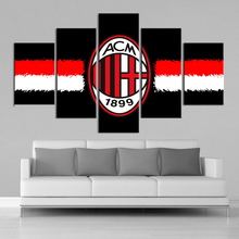 AC Milan Flag 5 Pieces Canvas Art Print Sports Football Posters Paintings Printed Kids Wall Prints Home Decor Framed