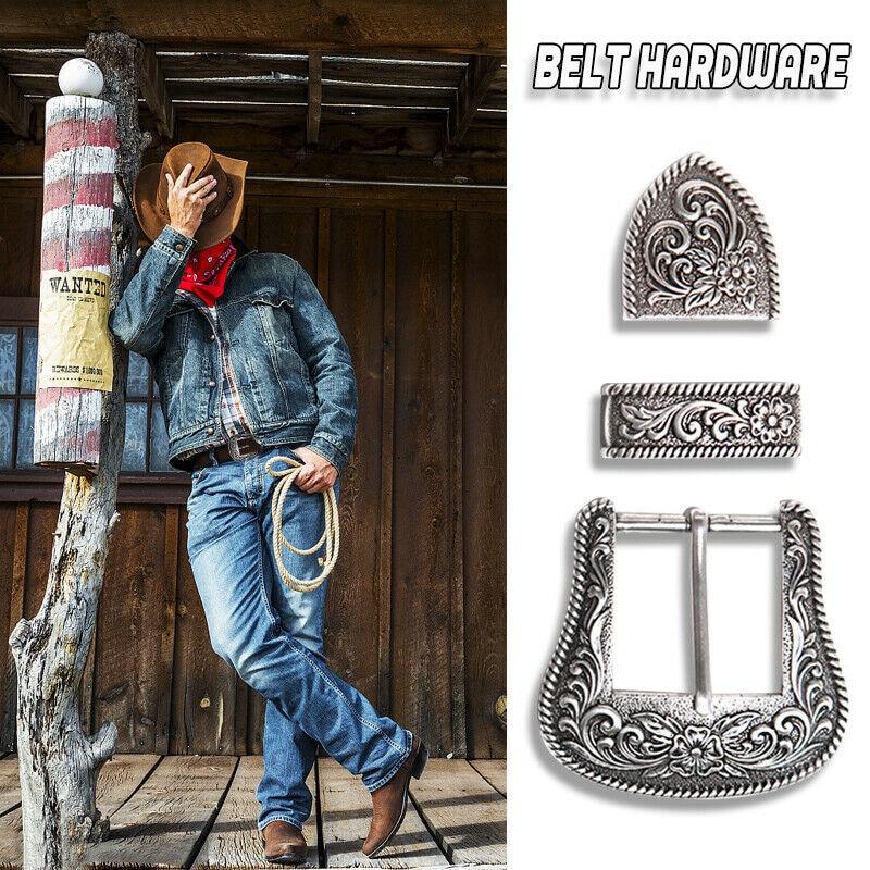 New Style Western Retro Floral Engraved Antique Belt Buckle Set 3pcs Fits 38mm Belt Decor