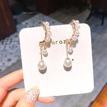 2019 Korean Summer Girl Cute Earrings Pearl Crystal Tassel Drop Earrings for Women Fashion Jewelry Accessories