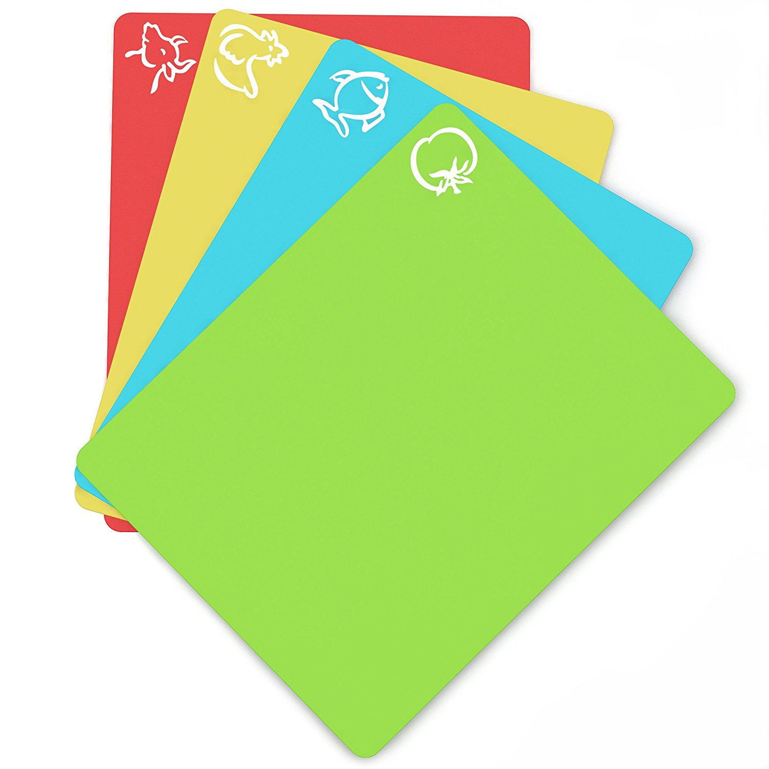 """Flexible Plastic Non-slip Chopping Block - Cutting Board - Cutting Mats With Food Icons Kitchen Tools (Set Of 4) 15""""x 12"""" 1"""