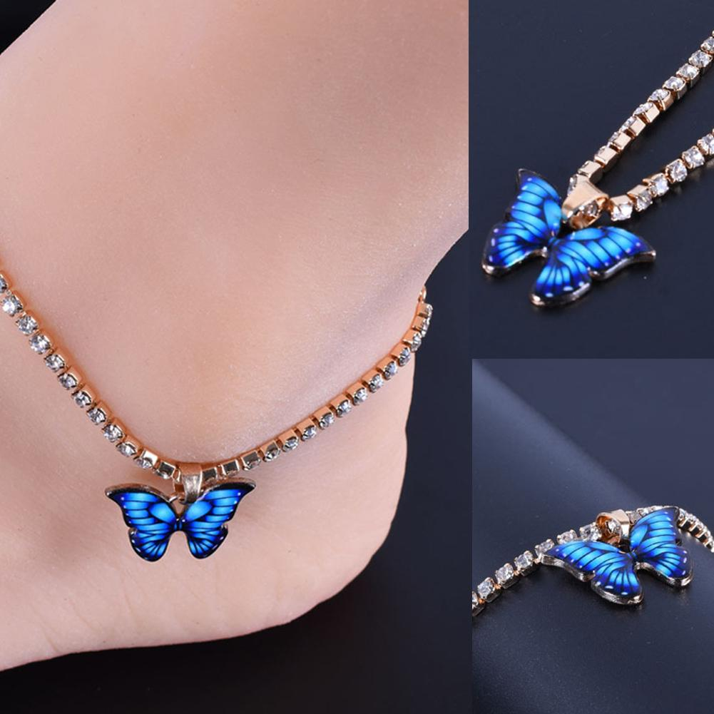 Women Fashion Butterfly Drop Rhinestones Inlaid Gold Color Chain Anklet Foot Bracelet Gift Bracelet on The Leg Bohemian Jewelry