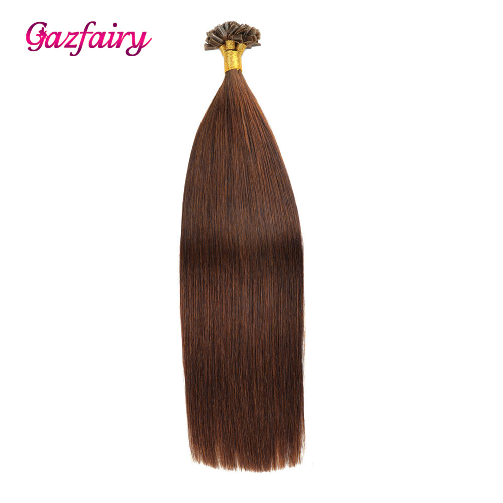 Gazfairy U Nail Tip Real Remy Pre Bonded Hair 20 Inches 1g/strand 100g Fusion Keratin Bond Human Hair Extensions Natural Color