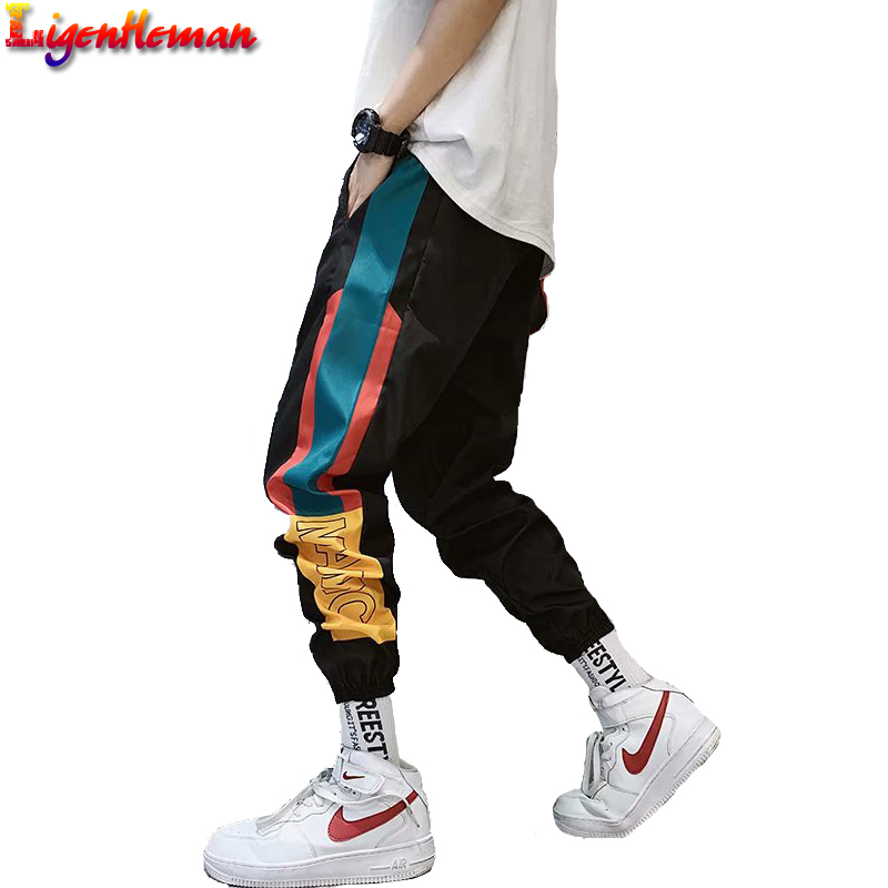 Hip Hop Streetwear Men's Splice Joggers Pants 2019 Men Sweatpants Loose Men Joggers Pants Track Harem Pants Men Streetwear Pant
