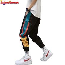 Hip Hop Streetwear męska Splice biegaczy spodnie 2019 męskie spodnie dresowe luźne mężczyźni biegaczy spodnie dresowe spodnie Harem spodnie męskie Streetwear spodnie tanie tanio Ligentleman Poliester 24-30 Elastyczny pas Pełnej długości Mieszkanie Midweight YT710 REGULAR Suknem Kieszenie Casual pants