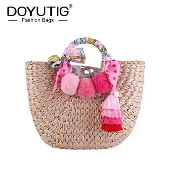 DOYUTIG Original Design Women's Hand Knitted Handbag Lady Summer Fresh Wool Ball Tassel Totes Bohemia Fashion Bucket Bag A269