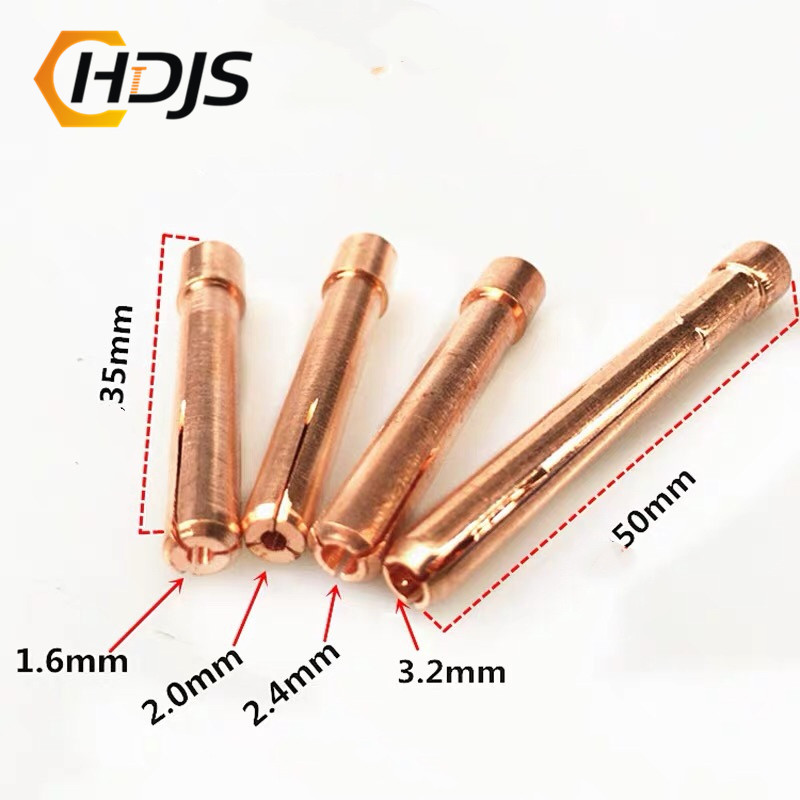 Long 35 Mm / 50 Mm TIG Argon Arc Welding TIG Gun Consumable 1.6mm 2.0mm 2.4mm 3.2mm TIG Tungsten Electrode Copper Clip