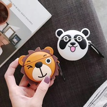 For AirPod 2 Case 3D Lion Panda Animal Cartoon Soft Silicone Wireless Earphone Cases Apple Airpods Cute Cover Funda