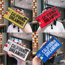 Square glass Phone Case for iPhone XS MAX XR X English alphabet Cases 7 6 6S 8 Plus Glass Shell Cover Capa