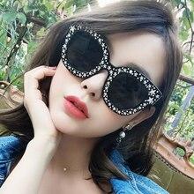 ZYOMY HD Lenses Luxury Women Sunglasses Diamond Cat Eye Goggles Pentagram Decoration Frame Sun Glasses For