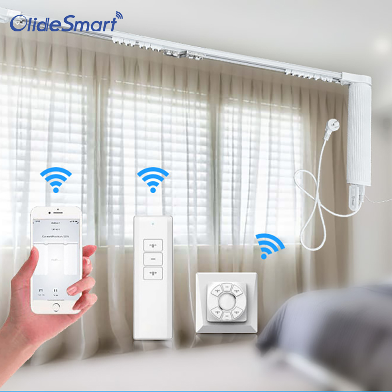 Smart Motorized Slide Shade Motor With Electric Curtain Tracks And Wall Switch Easy Assembly Support Voice Control By Alexa