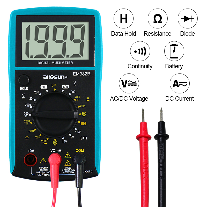 all-sun EM382B LCD digitale multimeter DC / AC voltmeter continuïteit batterij diodetester