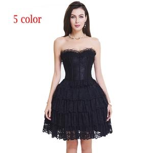 Image 2 - Corset met jurk steampunk gothic bustier Vrouwen Afslanken sexy taille kant bovenborst taille trainer party corset jurk top