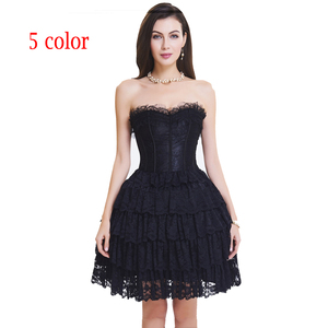 Image 2 - corset with dress steampunk gothic bustier Women Slimming sexy waist lace overbust waist trainer party corset dress top