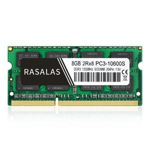 Rasalas, 8GB, 2Rx8 PC3-10600S, DDR3, 1333Mhz, SO-DIMM, 1,5V, Notebook RAM, 204 Pines, portátil, Memoria sodimm, NO-ECC
