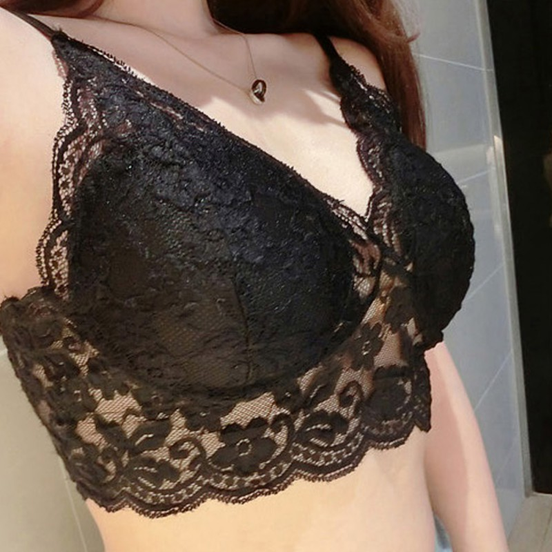 High Quality Women <font><b>Sexy</b></font> Lace Floral Bralet <font><b>Bra</b></font> Bustier Crop Top Tank Top Lace ribbon chest pad bottom strap <font><b>bra</b></font> top image