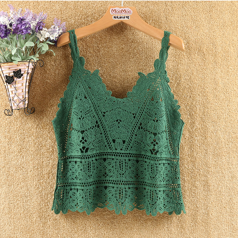 2019 Hot Sale <font><b>Sexy</b></font> Vest Hollow out <font><b>Crochet</b></font> Lace <font><b>Crop</b></font> <font><b>Top</b></font> Mesh Casual Tank <font><b>Top</b></font> Camisole Tee Lace Vest Fashion Summer Vest image