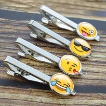 Cute Emoji Pins Funny Emoticons Men Fashion Tie Clip Silver Wedding Necktie Clasp Accessories