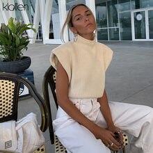 Klalienファッションエレガントな固体の女性はカジュアルなオフィスの女性ストリート野生ルーズタートルネックプルオーバー女性の綿のセーター2020