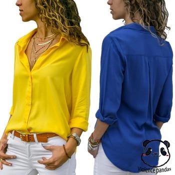 Women Tops Blouses Elegant Long Sleeve Solid V-Neck Chiffon Blouse Female Work Wear Shirts Plus Size Blouse blusa feminina 1