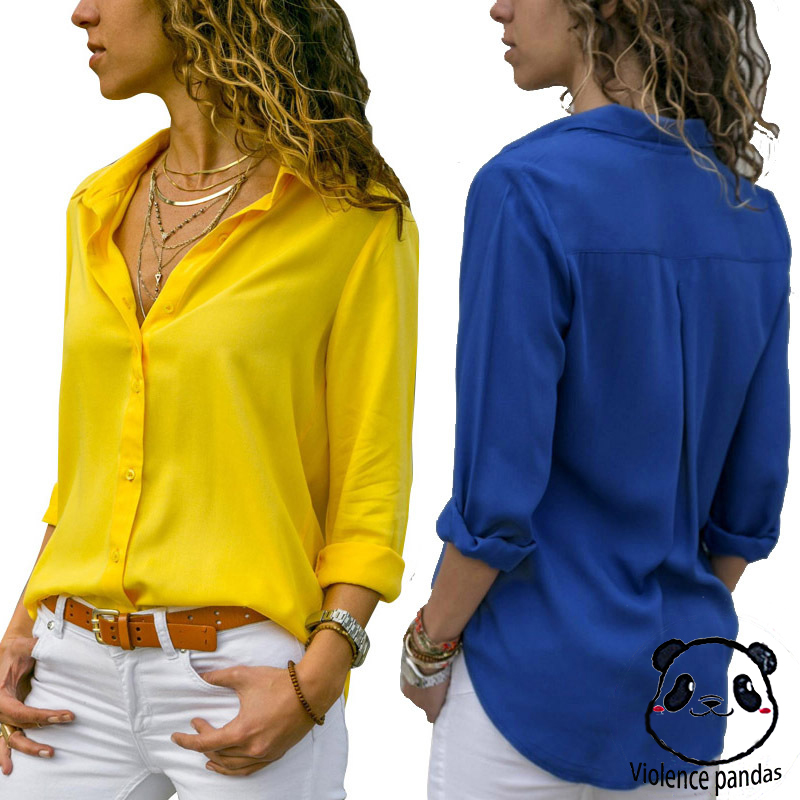 Women Tops   Blouses   Elegant Long Sleeve Solid V-Neck Chiffon   Blouse   Female Work Wear   Shirts   Plus Size   Blouse   blusa feminina