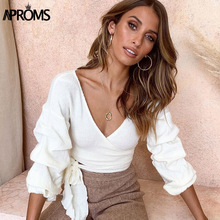Aproms Elegant Bow Tie Knitted Tank Top Women Sexy Deep V Neck Ruffle Warp Female Crop Top  Autumn Winter Ladies Ruched Top Tees все цены