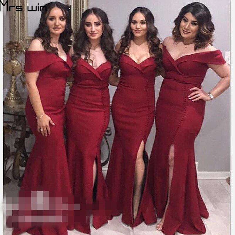 Mrs Win Bridesmaid Dress Burgundy Elegant Vestido Madrinha Under 50 Sexy Split Mermaid Wedding Party Dresses For Girls HR054