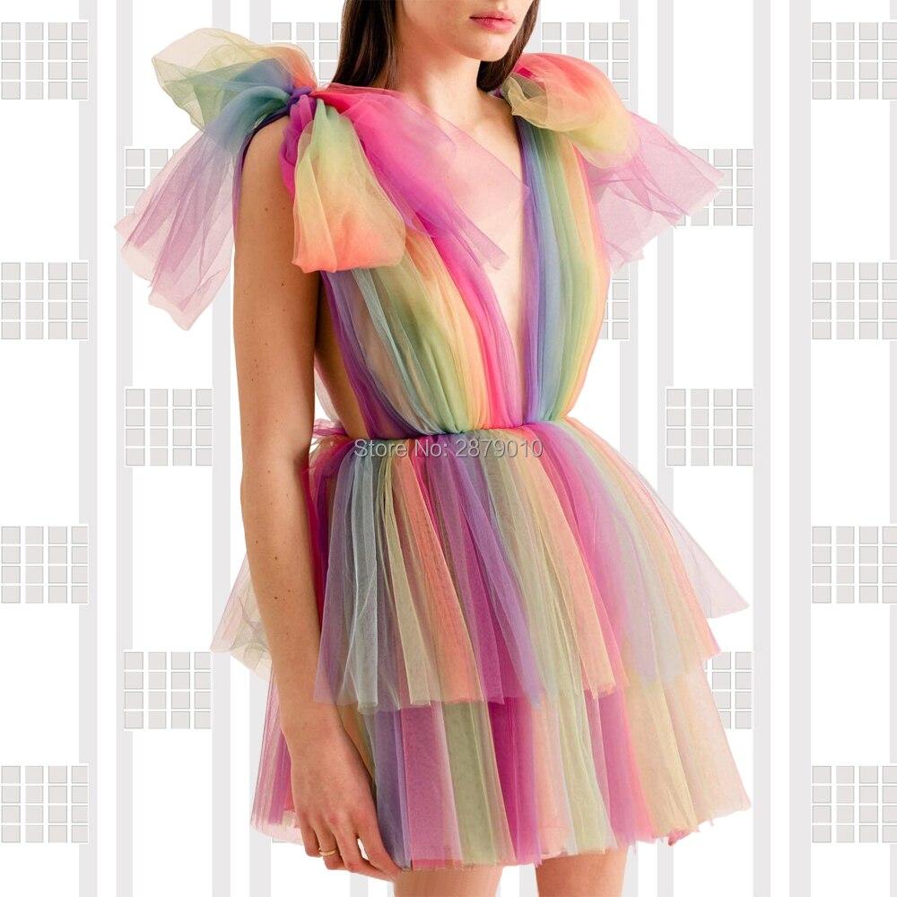 2020 Homecoming Dress V-Neck Short-Length Sleeveless Above Knee Tulle Bowknot Dress Cocktail Dress Коктейльный костюм Arabia