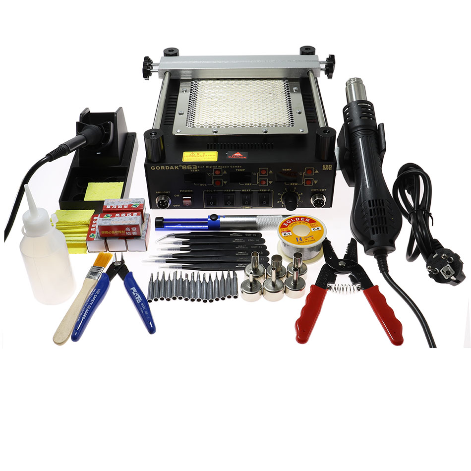 Gordak 863 3 In 1 Solder Station Digita Hot Air Heat Gun BGA Rework Electric Soldering Iron IR Infrared Preheating Station
