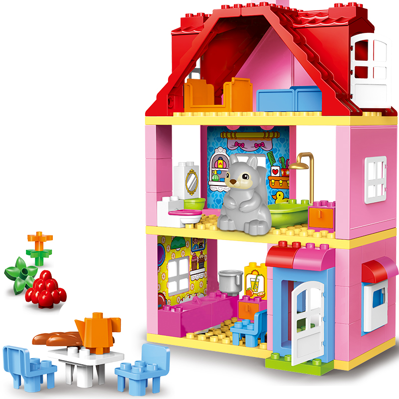 UMEILE Friends Brick Set Pink City Girl Princess Family House Kids Toys Building Block Compatible With Duplo Brick Gift