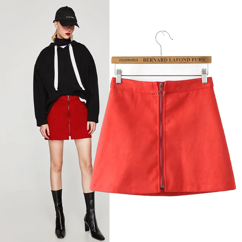 2017 Autumn New Style Western Style Fashion Suede Suede Textured Effect Mini Skirt High-waisted Zipper Skirt