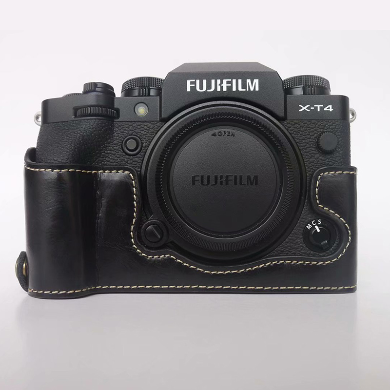Portable PU Leather Cover Camera Bag Bottom Case For Fuji Fujifilm X-H1 XH1 X-T4 XT4 Half Body Shell With Battery Opening