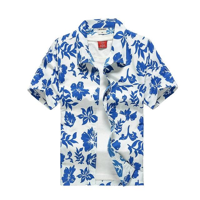 Beach Shirts Men Summer Vacation camisas para hombre Coconut tree Printed Short Sleeve Button Down Hawaiian shirts for Men M-5XL 5