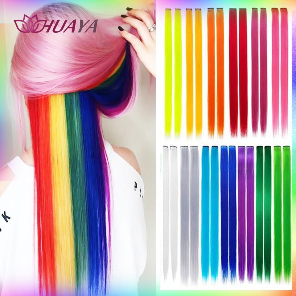 Длинные прямые синтетические накладные волосы HUAYA с эффектом омбре для девочек, накладные волосы радужной расцветки для женщин, спортивные ...
