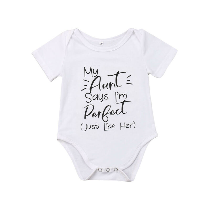 Newborn Baby   Romper   Letter Printed Boy Girl My Aunt Jumpsuit Clothes Outfits Unisex Infant Clothes 0-18 Months