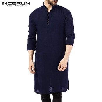 Moroccan Caftan Basic Mens Shirts Long Sleeve Dress Islamic Clothing Chemise Elegant Kaftan Robe Pakistani Man Clothes S-5XL 1