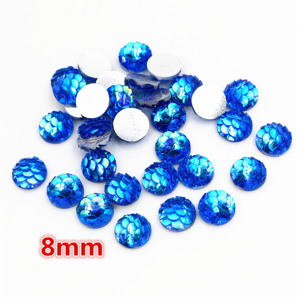 New Fashion 8mm 40pcs Blue AB Colors Fish Scales Style Flat Back Resin Cabochons For Bracelet Earrings Accessories-O6-25