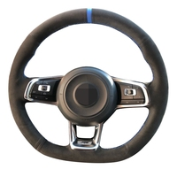 Black Leather Suede Carbon fiber Car Steering Wheel Cover for Volkswagen Golf 7 GTI Golf R MK7 Polo Scirocco 2015 2016