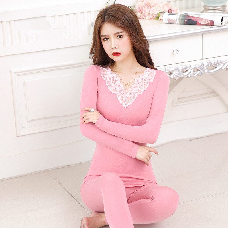 Women Winter Clothing Warm Long Thermal Underwear Set Ladies Thermal Lace Top Female Long Johns Termal Body Shapers For Winter