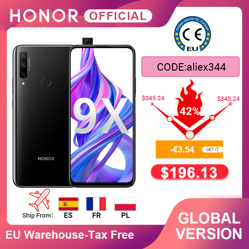In Stock Global Version Honor 9X 4GB 128GB Smartphone 48MP AI Triples Camera 6.59'' Mobile Phone Google Play CellPhone