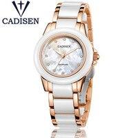 Mejor Relojes de lujo para mujer de CADISEN, reloj de cuarzo Geneva para mujer, reloj de cerámica dorado para chica, reloj femenino