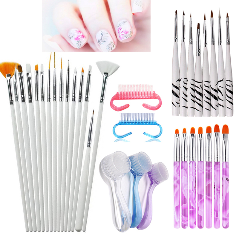 Vopregezi Nail Gel Brushes Set Purple Handle Acrylic UV Gel Brush Painting Pen Nail Decoration Manicure Nail Art Brush Tool