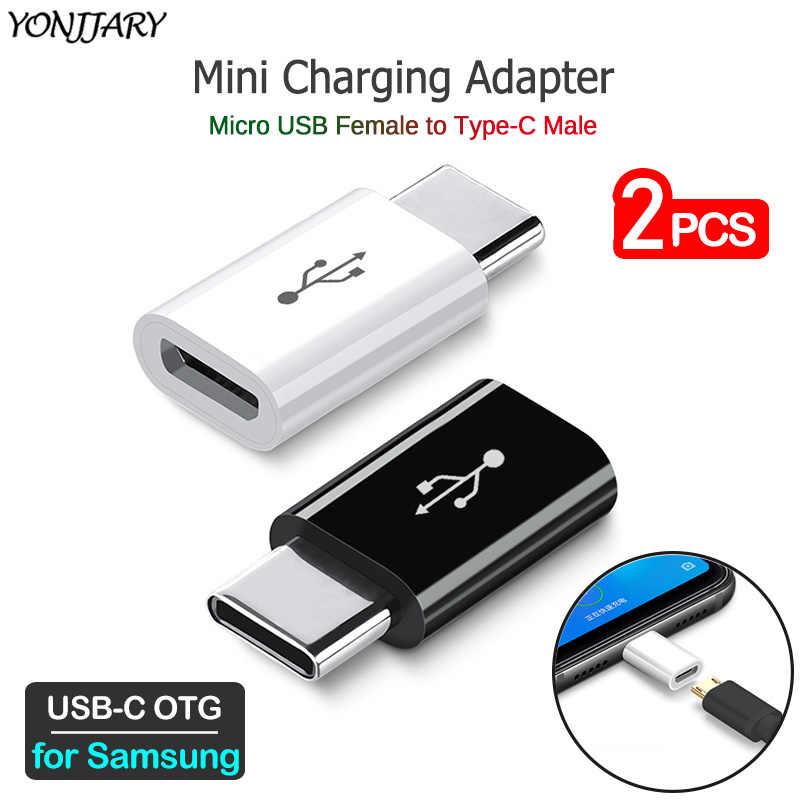 2Pcs USB C Micro CHARGING Converter สำหรับ Samsung Galaxy S8 S9 S10 S20 PLUS Ultra S10E หมายเหตุ 8 9 10 + 5G Type-C อะแดปเตอร์ USB OTG