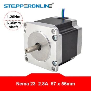 Nema 23 Stepper Motor 1.26Nm 56mm Body Length 2.8A 23HS5628 Stepper 178.04oz.in Nema23 Motor 6.35mm Shaft for CNC Router screw with linear guide hgr15 hpv6 linear module nema23 2 8a 56mm stepper motor same