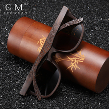 GM בעבודת יד טבעי עץ משקפי שמש נשים גברים מותג עיצוב בציר אופנה משקפיים אפור מקוטב עדשת מקבלים OEM 1610BN