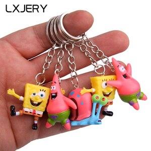 LXJERY 5 Styles Cartoon Spong Characters KeyChain Women Lovely Key Chain Bag Pendant Key Ring For Women Kids Girls Toy Gift
