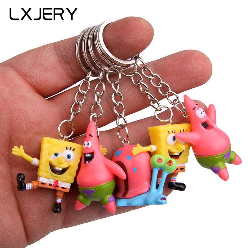Lxjery 5 estilos dos desenhos animados personagens spongebob chaveiro feminino adorável chaveiro saco pingente chaveiro para crianças meninas brinquedo presente